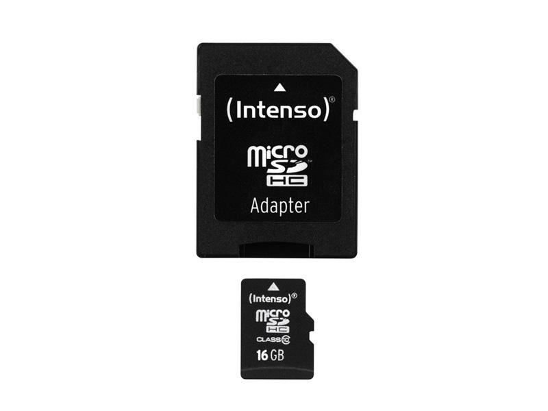 MicroSDHC 16GB<br> Intenso +Adapter<br>CL10 Blister