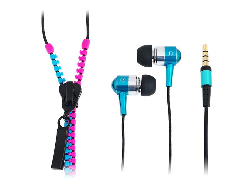 LogiLink Stereo<br> In-Ear Headset<br>Zipper Pink-Blue (H