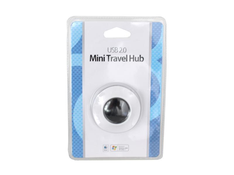 USB HUB 4-Port USB<br> 2.0 Mini Travel<br>HUB Weiß