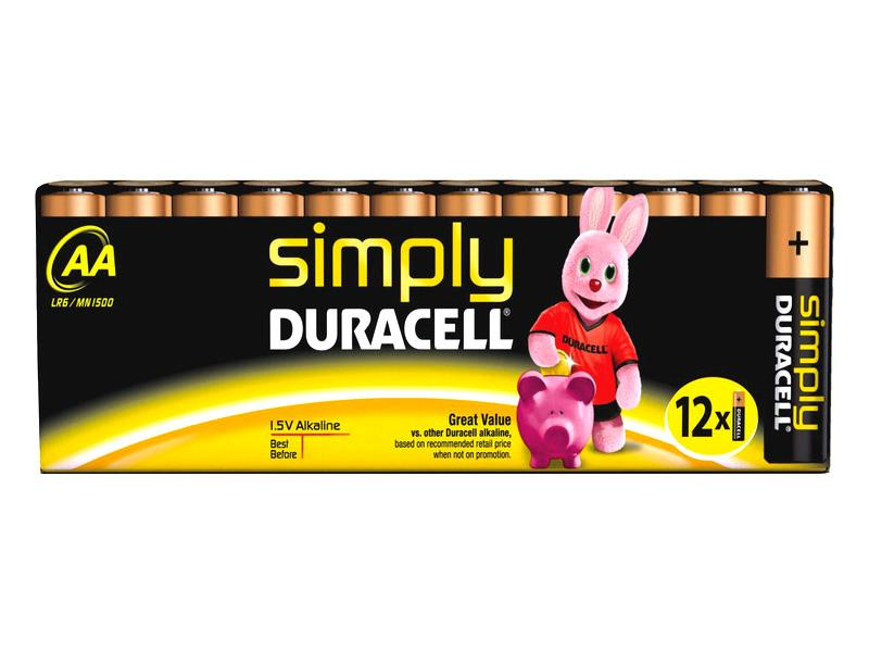 Battery Duracell<br> Simply MN1500/LR6<br>AA (12