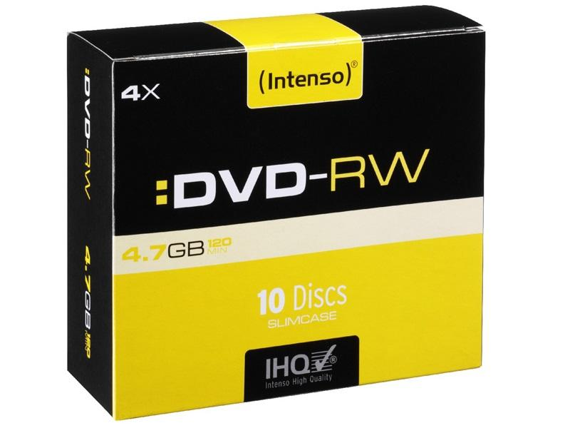 Intenso DVD-RW<br> 4.7GB 4x speed -<br>10pcs Slim Case