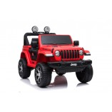 "Kinderfahrzeug - Elektro Auto ""Jeep Wrangler Rubicon"" - lizenziert - 12V10AH Akku,4 Motoren+ 2,4Ghz+Ledersitz+EVA -Rot"