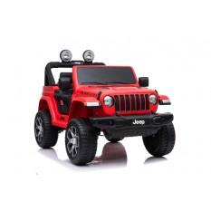 "Kinderfahrzeug - Elektro Auto ""Jeep Wrangler Rubicon"" - lizenziert - 12V10AH Akku + 4 Motoren + 2,4Ghz+Ledersitz+EVA -Rot"