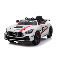 """Kinderfahrzeug - Elektro Auto """"Mercedes AMG GT4"""" - lizenziert - 12V, 2 Motoren- 2,4Ghz Fernsteuerung, MP3, Ledersitz+EVA-Weiss"""