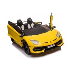 "Kinderfahrzeug - Elektro Auto ""Lamborghini Aventador SVJ Doppelsitzer"" - lizenziert - 12V7AH, 2 Motoren- 2,4Ghz Fernsteuerung, MP3, Ledersitz+EVA+Lackiert"